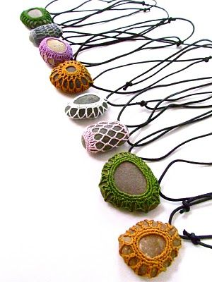 Crocheted river rock necklaces: