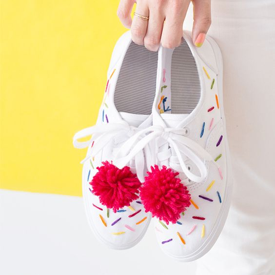 DIY Embroidered Ice Cream Sneakers:
