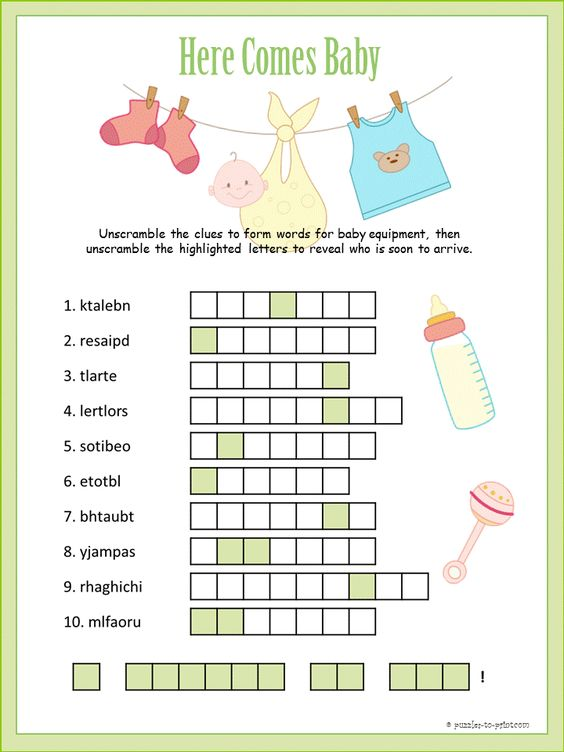 Here is a really cute baby shower word scramble that also includes a special scrambled message.  Print it out along with our other puzzles for your party.