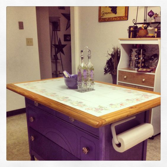 Old kitchen table and an old dresser made into a kitchen island ... #kitchen #diy #island