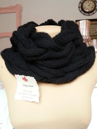 Braid-Style Cowl in Black (Hand-knitted) - scarf, neck warmer **UPDATE: BIGGER DISCOUNT!!