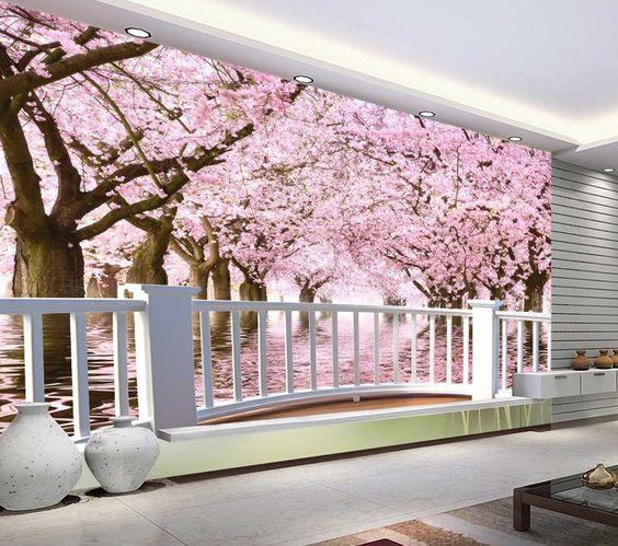 papier peint photo trompe l 39 il effet 3d paysage romantique avec les cerisiers extension d. Black Bedroom Furniture Sets. Home Design Ideas