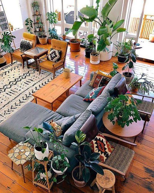 Urban Jungle Boho Living Room Home Decor Interior Design Living Room