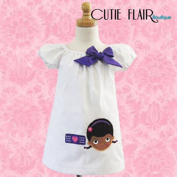 Doc McStuffins Inspired  White Peasant Dress by cutieflair on Etsy, $34.99