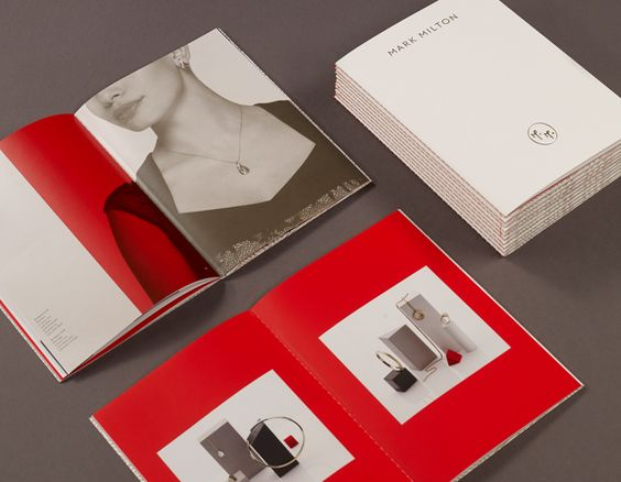 Visual identity and print with open stitch detail designed by ico for curated jewellery brand Mark Milton.