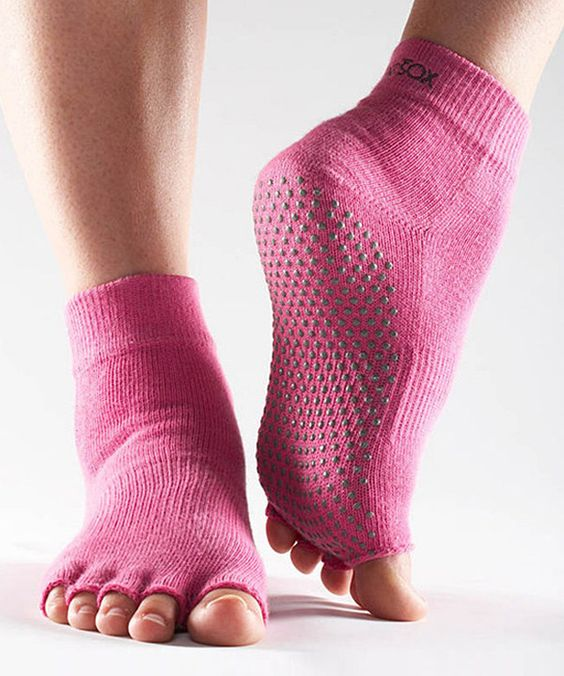 Look at this #zulilyfind! Hot Pink Gripper Half-Toe Ankle Socks by ToeSox #zulilyfinds