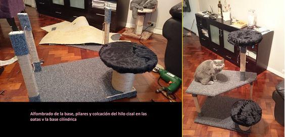 8. Forrado de las bases, pilares y cilindro/base. Materiales: alfombra + tela peluche + hilo sisal. Todo engrampado.