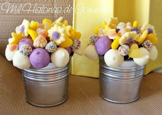 Macetas de chuches amarillo morado estrellas - Macetas de chuches ...