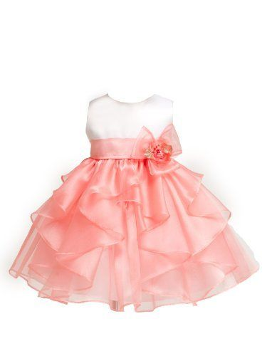 Baby-Girls KID Collection Layered Organza Ruffle Skirt Pageant Party Dress, White/Coral, XL Kid Collection,http://www.amazon.com/dp/B00BF3EJGC/ref=cm_sw_r_pi_dp_.hULrbDA97934980