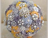 Gold and silver bridal brooch bouquet by VioGemini. Can customize for your wedding colors!