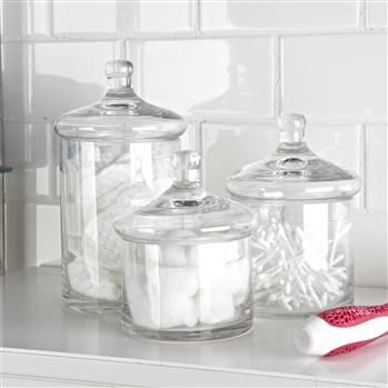 Set of regency and canisters on pinterest for Clear bathroom containers