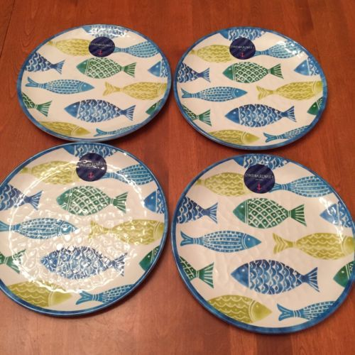 Cynthia Rowley MELAMINE Dinner Plates Set Of 4 Fish | China/Tea Sets/ Dinnerware | Pinterest | Dinner plate sets Cynthia rowley and Fish & Cynthia Rowley MELAMINE Dinner Plates Set Of 4 Fish | China/Tea Sets ...