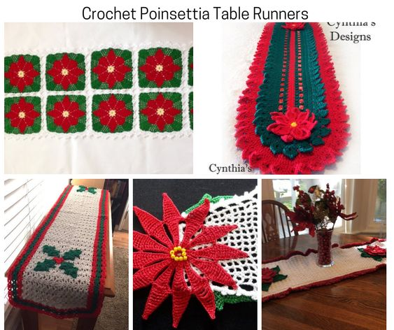 Crochet Poinsettia Table Runners