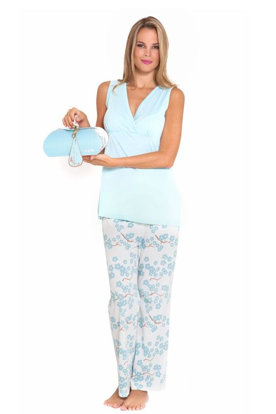 Mackenna 4-pc. Nursing PJ Set with Baby Outfit and Gift Box in Blue Floral. Please use coupon code NewProducts to receive 15% off these items. To receive the discount, please place your order by midnight Monday, April 20, 2015