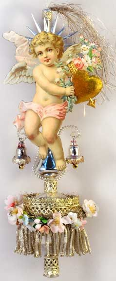 Angel Holding Heart on Exquisite Silver Spire Topper with Bells and Flowers  http://victorianornaments.com