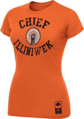 Illinois Fighting Illini Women's Orange Gym Class Chief Illiniwek Cap Sleeve T-Shirt  Though, I doubt they sell these anymore ...