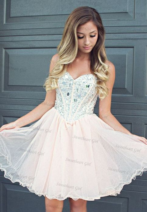 Cute A-line Sweetheart neckline Tulle Short Prom Dress Homecoming ...