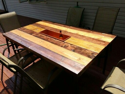 replaced broken glass top on patio table with 2x6 boards ideas for my home pinterest. Black Bedroom Furniture Sets. Home Design Ideas