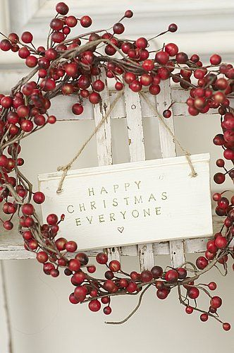 For years I've been pining for a simple, rustic berry wreath to bless my front door with at Christmas.  Seeing this one makes me crave a little DIY project this weekend.  Would love to make wreaths as gifts for Christmas this year.  Time to go hunting for bits and pieces!  Thanks to Sarah Vam de Parker for helping me discover this.  -- Eve.