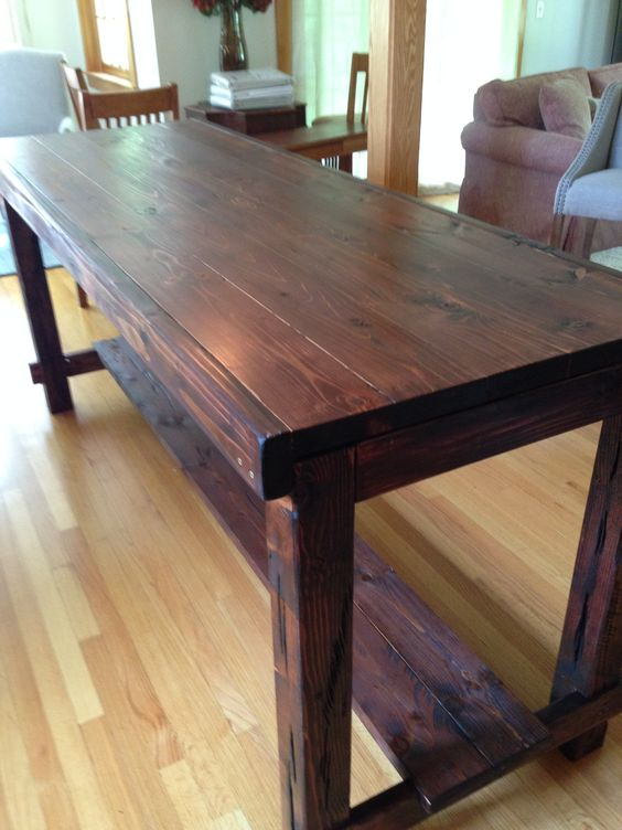 Counter Height Farm Table in custom Red Mahogany, aged and distressed.  Northwood Farm Tables, Northwood, NH