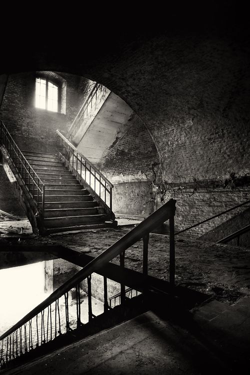Abandoned places black and white dresses