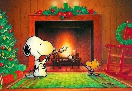 Snoopy and Woodstock In Front of Fireplace Fire Roasting Marshmallows At Christmastime