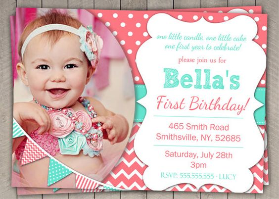 1st Birthday Invitation Coral and Aqua  by InvitaitonsByLittleP, $10.00