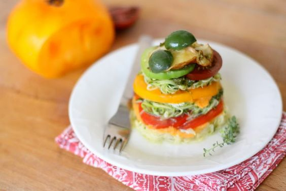 Rainbow Lasagne with Heirloom Tomatoes, Mushrooms, and Castelvetrano Olives by golubka #Lasagne #golubka