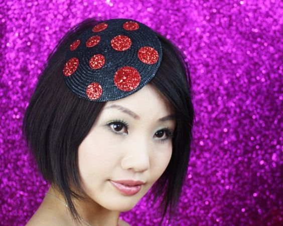 Photo of Glitter Spots Fascinator, Black with Red Glitter Spots in Straw