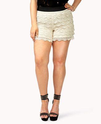 Forever21+ Plus Size Crochet Lace Shorts