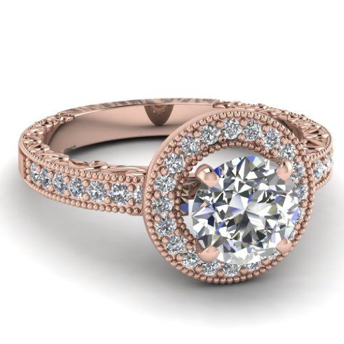 Round Cut Diamond Halo Engagement Ring W Milgrain In Pave Setting in Rose Gold