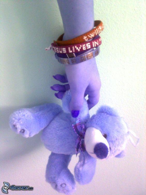 Gotik, Armband, Teddybär, Hoffnung, Hand, Rettung