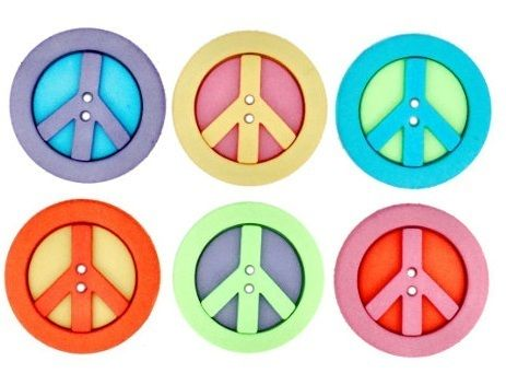 "1 Pck. Knöpfe Peace Hippie ""Dress It Up"" Buttons von Vanice Buttons and Crafts"