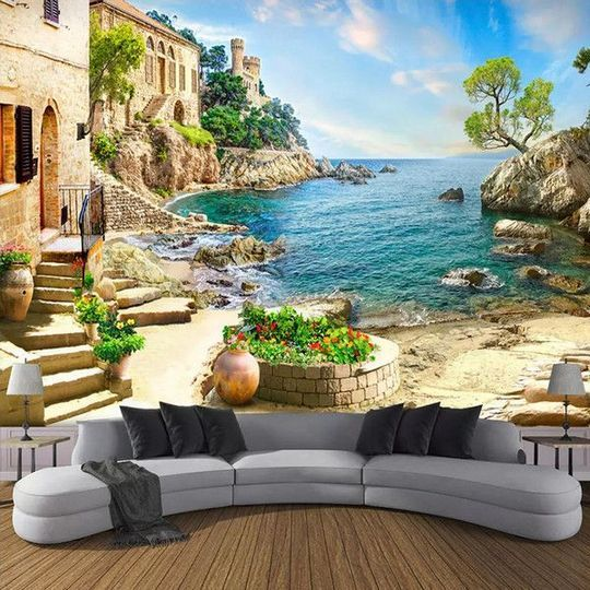 33 3d Mediterranean Living Room Town Street Custom What Is It Findmynewhomes Mural Wallpaper Wall Painting Living Room Wall Murals