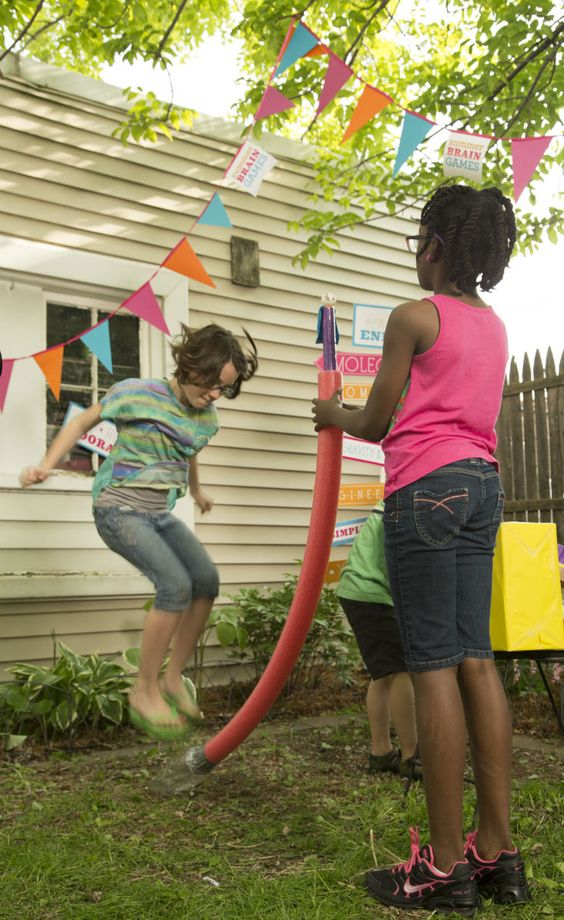 Rev up the excitement at a backyard summer science carnival with this stomp rocket daredevil!