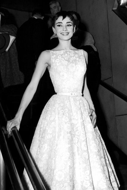 Audrey Hepburn was one of the first iconic looks from the Academy Awards, when in 1954 she wore a white belted flower patterned dress by @givenchy which showed off her grace and style to perfection. (1954) | @marieclaireuk Read more at http://www.marieclaire.co.uk/