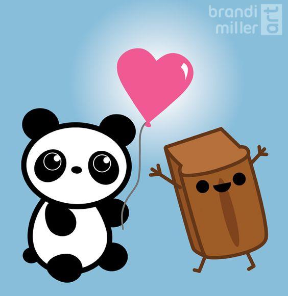 """Panda and Pumpkin Pie Bread"" Custom Valentine's Day card by Brandi Miller Art"