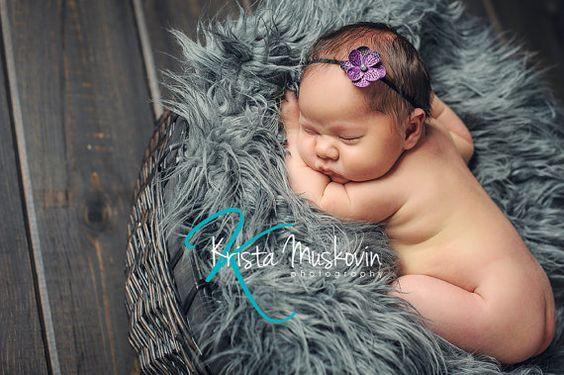 Purple Flower Headband Newborn Photo Prop by DarlingDelilah777, $5.00