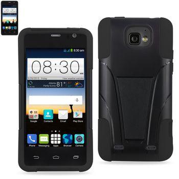Reiko Silicon Case+Protector Cover For ZTE Sonata 2/ ZTE Z755 New Type Kickstand Black