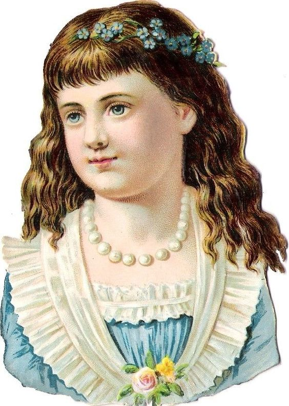 Oblaten Glanzbild scrap diecut chromo Kind 11cm child girl head buste portrait: