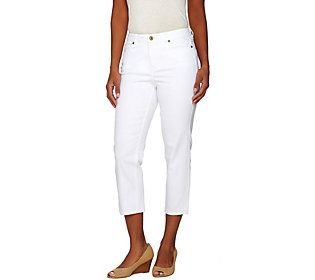Isaac Mizrahi Live! TRUE DENIM Petite Cropped Colored Jeans ...