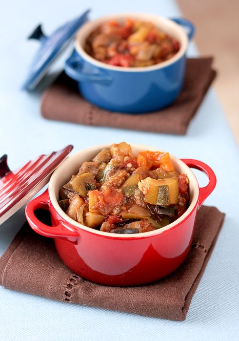 Ratatouille - it can be a side dish, a bruschetta topping, a main meal with a fried egg on top (known as piperade), or a vegetarian meal with a sprinkle of parmesan or Gruyere. It makes a lot and that's perfect for a gathering of friends.