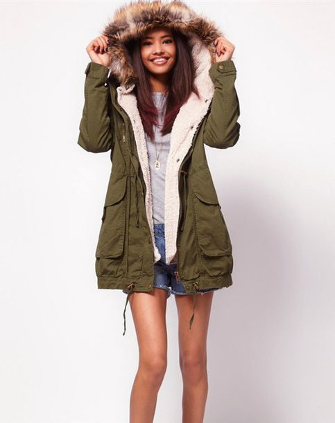 Women's big fur hooded parka fleece lined coat Condition: New