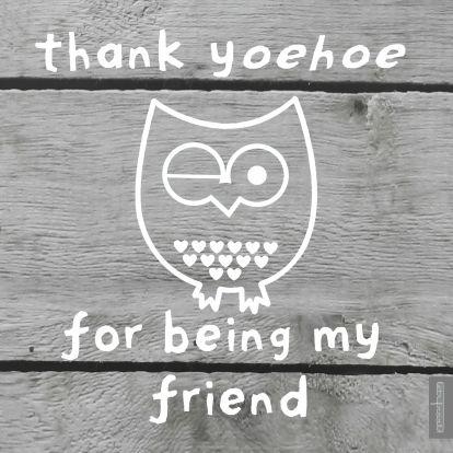 Vriendschap kaarten - Thank y-oehoe for being my friend