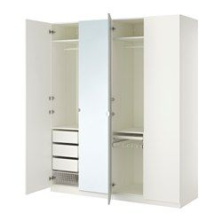 IKEA - PAX, Wardrobe, soft closing hinge, 200x60x236 cm, , 10 year guarantee. Read about the terms in the guarantee brochure.You can easily adapt this ready-made PAX/KOMPLEMENT combination to suit your needs and taste using the PAX planning tool.Hinges with integrated dampers catch the door and close it slowly, silently and softly.If you want to organise inside you can complement with interior organisers from the KOMPLEMENT series.Adjustable feet make it possible to compensate any…