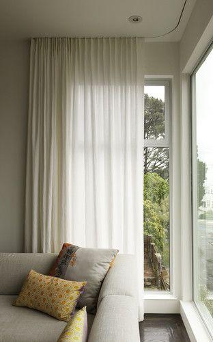Modern curtains on recessed track modern window treatments #TallWindows #LoftyWindows #WindowTreatments