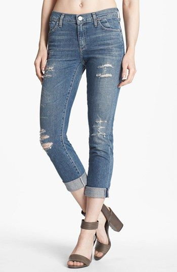 Goldsign 'Jenny' High Waist Crop Skinny Jeans (Nadya) available at #Nordstrom