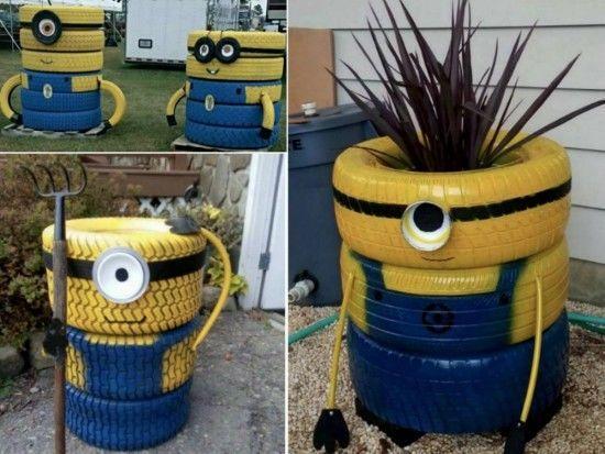 small flower pot people diy minion tire garden decor garden tires diy gardening crafts
