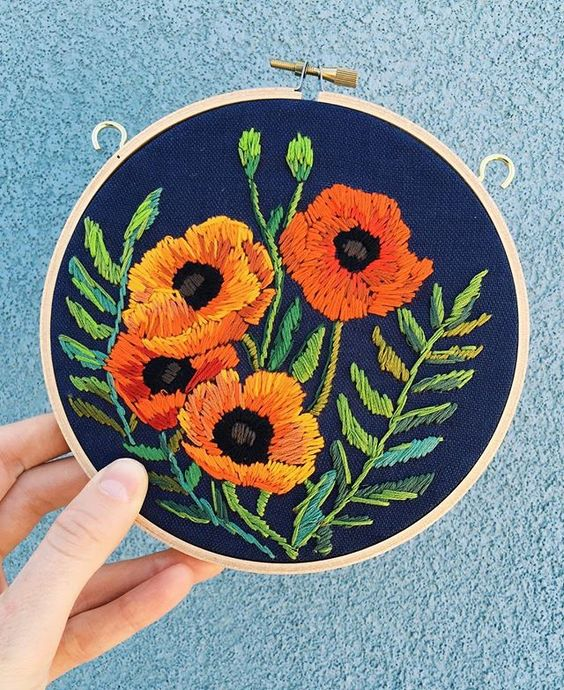 California popz #embroidery #poppies