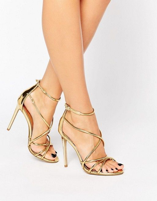 Office | Office Spindle Gold Metallic Strappy Heeled Sandals